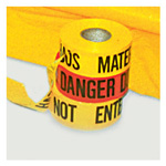 Barrier Tape, Reads: Hazardous Materials Do Not Enter, Polyethylene, 3inch x 1000 Foot, 2 mL