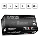 Microflex MidKnight Gloves, Nitrile, Single Use, Non-Sterile, Powder Free, 9? inch, Black, XSM