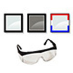 Crews Tomahawk Safety Glasses, Wrap Around Design, Clear Lens, Red, White and Blue Frame