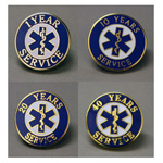 EMS Uniform Service Pin, 7 Years Of EMS Service, 3/4inch D, Round, Colors May Vary