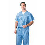 Scrub Top, Disposable, Breathable, Fluid Resistant, V-neck, Blue, SM