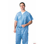 Scrub Pant, Disposable, Breathable, Fluid Resistant, Drawstring, Blue, MED