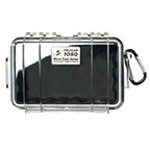 Pelican 1050 Micro Case, 6.31in x 3.68in x 2.75inch, Solid Black with Black Rubber Liner