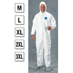 Tyvek Zip Coveralls, Attached Hood, Elastic Wrists, Friction-Coated Boots, MED