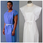 Exam Gown, 3-Ply Tissue, Front or Back Opening, Disposable, 30inch x 42inch, White