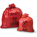 Biohazard Waste Bag, 1.2 mil, Red w/Black Print, 23inch x 23inch, 7-10gal