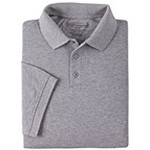 5.11 Men Professional Polo Shirt, Pique Knit, Short Sleeve, Tall, Heather Grey, 2XL
