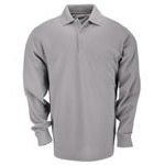 5.11 Men Professional Polo Shirt, Pique Knit, Long Sleeve, Heather Grey, 2XL