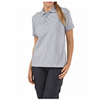 5.11 Women Tactical Polo Shirt, Short Sleeve, Heather Grey, LG