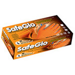 SafeGlo Gloves, Nitrile, Powder Free, Orange, SM