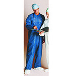 Medichoice Coveralls, Knit Cuffs, Open Collar and Legs, Zip Front, Blue, LG