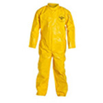 Coverall, Tychem QC, MED, Yellow, Bound Seam, Elastic Wrist and Ankles, Hood, No Boots