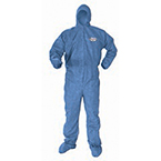 KLEENGUARD A60 Coverall, Blue, with Hoods, Boots, Zipper Front, Elastic Wrist, MED