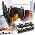 BLACK-FIRE* Gloves, Black / Orange, Nitrile, XS, 150/box