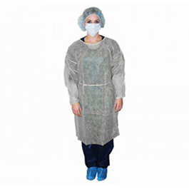 Isolation Gown, White, Non-Sterile, Impervious Polyethylene Coating
