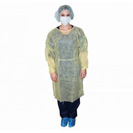 Isolation Gown, Yellow, Non-Sterile, Impervious Polyethylene Coating