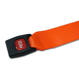 Extension Strap, Vinyl Antibacterial, 1 pc, 5ft, Metal Push Button Buckle, Orange