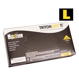 Curaplex Tritongrip TE Black Nitrile Exam Gloves, Large *Discontinued*