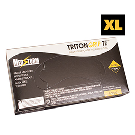 Curaplex Tritongrip TE Black Nitrile Exam Gloves, XL