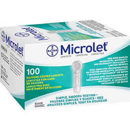 Microlet Lancets, Protective Twist-Off Caps, Sterile, 100/Box