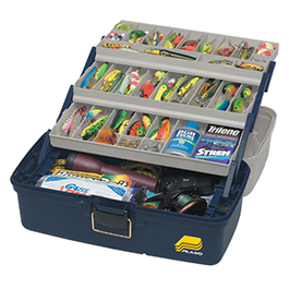 Tackle Box, XL, 3 Tray, 19.25 in L x 10 in W x 9.75 in H, Molded Plastic 2/cs