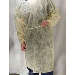 Isolation gown, Elastic Cuffs, Universal Size, Yellow
