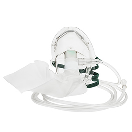 Oxygen Mask w/Elastic Strap w/7 Foot Tubing, Medium Concentration, Elongated, Adult