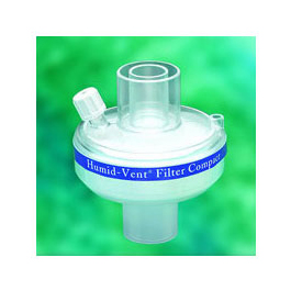 Humid-Vent Filter, Compact, Straight, 150 mL to 1000 mL Tidal Volume, Vt=1.0 L Output
