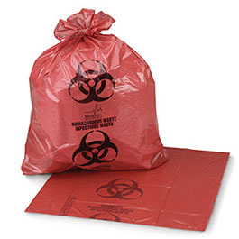 Infectious Waste Bag, Red, 1.3 mil, 11 x 14inch, 2 Gallon