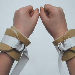 Limb Restraints, Adult Wrist/Ankle, 2 D-rings, Adjustable, Disposable, Poly, White