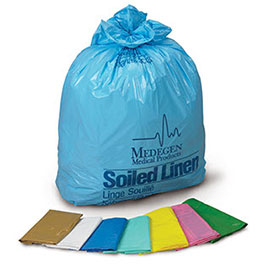 Soiled Linen Collection Bags, White w/Blue Print, 25inch x 34inch, 12-16gal