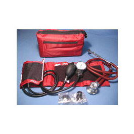 Blood Pressure Unit and Stethoscope Kit, Nylon Cuff, 22inch Stethoscope, Case, Blue