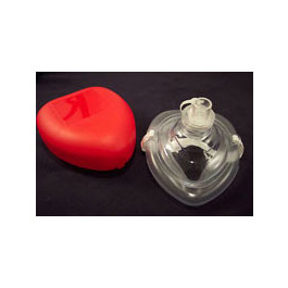 CPR mask, Pocket Style, Pre-Inflated Cuff fits Adult, Child and Infant, 1-Way Valve, O2 Inlet Strap