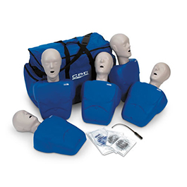 CPR Prompt Training and Practice Manikin, 5 Pack, Carry Case, Blue, Adult/Child