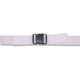 Spineboard Straps, Plastic Side Release Buckle, 2 Piece w/ Loop Lock, White, 5 feet