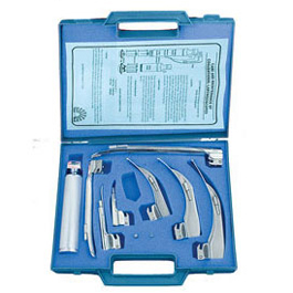 Laryngoscope Blade Set w/Medium Chrome-Plated Handle, American Profile MacIntosh/Miller, Fiber Optic