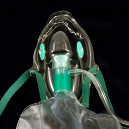 Oxygen Maks, Elongated, High Concentration, Total Non-rebreathing, w/Reservoir Bag, Adult