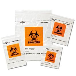 Zip-Style Biohazard Specimen Bags, 6in x 9in