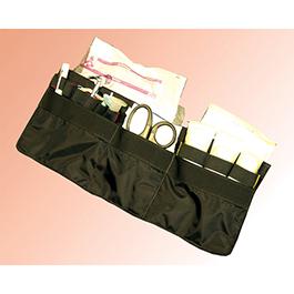 Wall Organizer Unit, Five Slash Pockets, Long Velcro Strip, 7inch x 18inch, Black