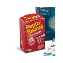 Pepto Bismol Antacid Tablets, 48/bx