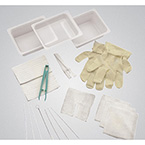 Tracheostomy Care Tray, Gloves, Basins, Dressing, Sponges, Cleaners, Brush, Applicators, Twill Tape, Forceps, Drape, Wrap