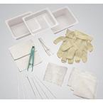 Tracheostomy Care Tray, Gloves, Basins, Dressing, Sponges, Cleaners, Brush, Applicators, Twill Tape, Forceps, Drape, Wrap