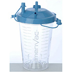 Suction Canister, Disposable, 1200cc, Plastic, Hydrophobic Shut-Off Filter