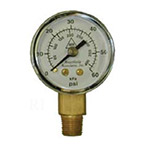Pressure Gauge, Replacement, 0-60 psi, 1/8inch NPT Male Bottom Fitting