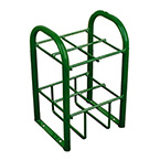 """Cylinder Stand, Steel, Green, Capacity 4, 19.5"""" H x 12.5"""" D x 10.5"""" W, 10 lbs"""