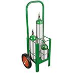 "Cylinder Cart, Steel, Green, Capacity 4, 42"" H x 10"" D x 18"" W, 2 Wheels: 10"" x 1.75"", 26 lbs"