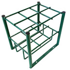 """Cylinder Stand, Steel, Green, Capacity 6, 19.5"""" H x 12"""" D x 15"""" W, 13 lbs"""