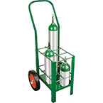 "Cylinder Cart, Steel, Green, Capacity 6, 42"" H x 15"" D x 18"" W, 2 Wheels: 10"" x 1.75"", 30 lbs"