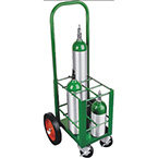 """Cylinder Cart, Steel, Green, Capacity 6, 42"""" H x 15"""" D x 18"""" W, 2 Wheels: 10"""" x 1.75"""", 2 Casters"""