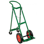 """Cylinder Cart, Steel, Green, Capacity 1, Rear Assembly, Safety Chains, 46"""" H x 28"""" D x 15"""" W, 30 lbs"""